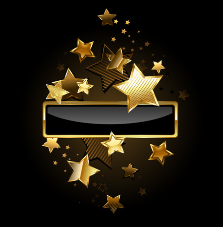 rectangular black banner with gold frame decorated with gold stars on a black background
