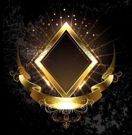 rhombus golden banner with gold ribbon on black background. Vectores