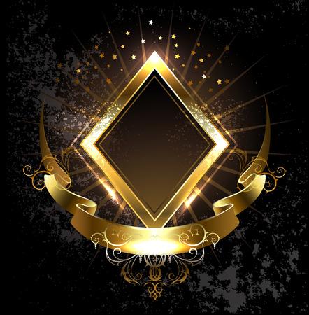 textura oro: rombo bandera de oro con cinta de oro sobre fondo negro. Vectores