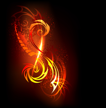 warmness: abstract fire pattern on black background.