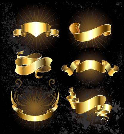black sign: Set of gold, shiny, ribbons on a black background.