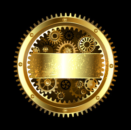 round banner with gears on a black background. Vectores