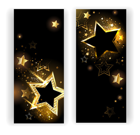 two vertical banner with shiny gold stars on a black background.