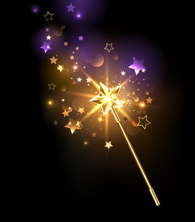 magic wand decorated with gold stars on a black background Stock Illustratie