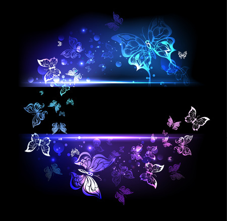 rectangular black banner with glowing colorful butterflies Vector