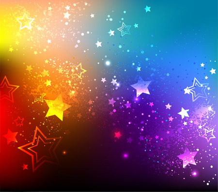 famous star: rainbow background with colorful stars.