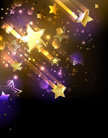 ゴールデン流れ星と背景  イラスト・ベクター素材