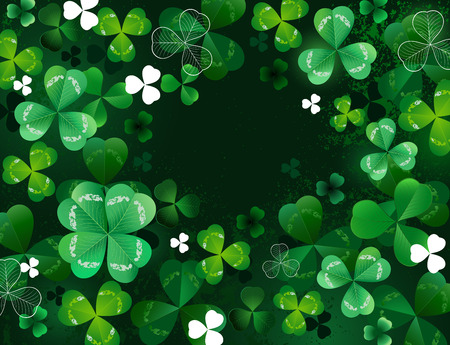 green background with shamrock with four and three leaves. Vector