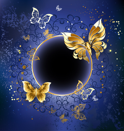 gold butterfly with gold round banner on blue textural background. Vector