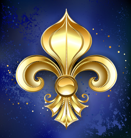 Gold Fleur-de-lis on a dark blue textural background Vector