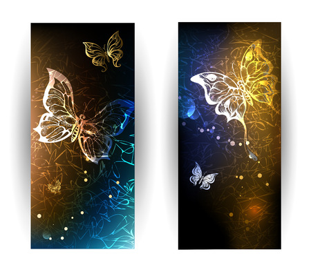 nocturnal: two vertical banner with glowing nocturnal butterflies on a black background.