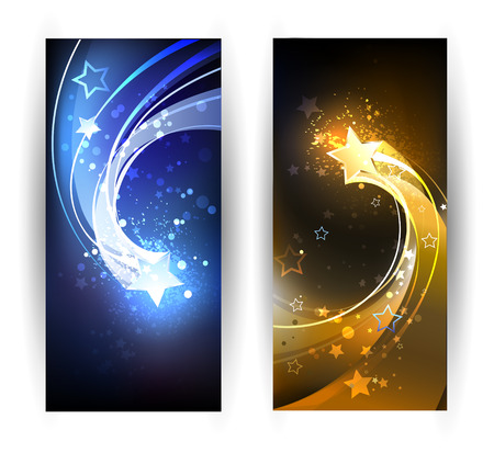 two horizontal banner with blue and gold comet. Vectores