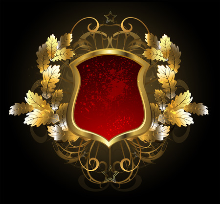red, gold shield with a golden oak branch on a black background.