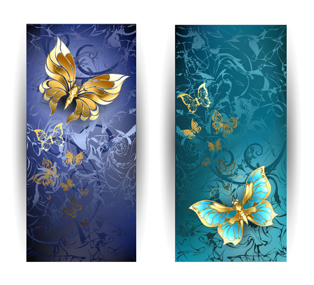 two vertical rectangular banner with gold butterflies on a blue background.