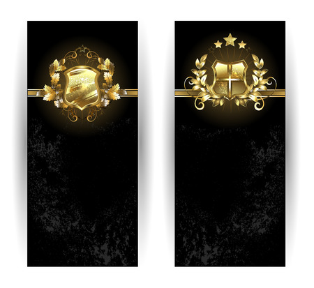 two vertical banner with gold shields on a black background