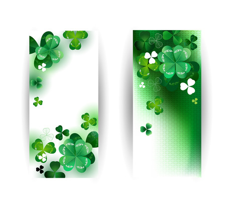 three leaf clover: two banners with green clover with four leaf on a green background. Illustration