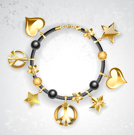 accesories: black leather bracelet decorated with golden stars, golden hearts, peace symbols.