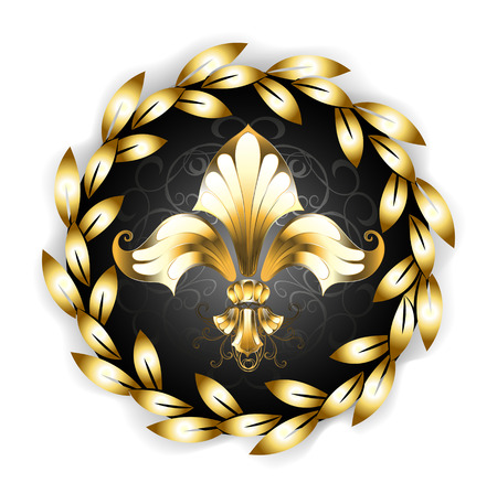 personable: Gold Fleur-de-lis decorated with gold laurel wreath on white background.