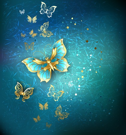 luxury gold butterflies on a blue textural background. Ilustrace
