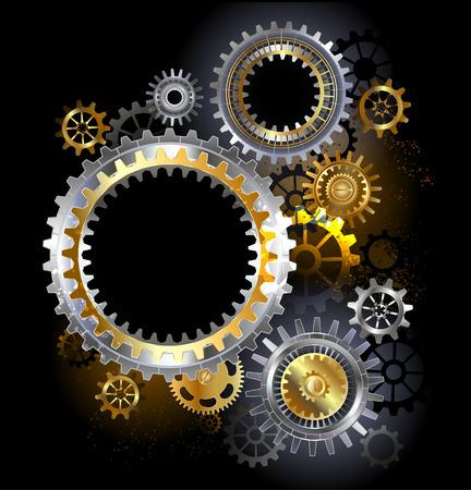 steel industry: three steel gears on a dark background.