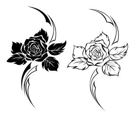 Two monochrome roses for tattoo  イラスト・ベクター素材