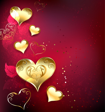 gold, jewelry hearts on red textural background with leaves of roses
