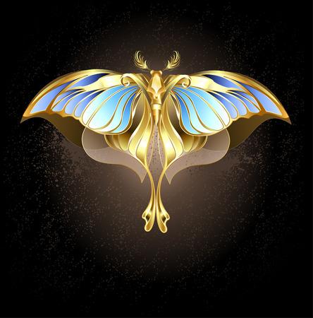 fond sombre: papillon d'or et de bronze avec le verre, ailes bleues sur un fond sombre.