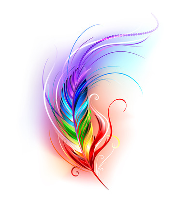 stylized: artistically painted rainbow feather on a white background.