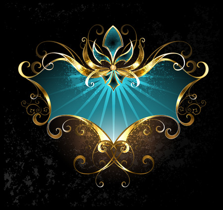 turquoise banner with gold lily on a dark background.