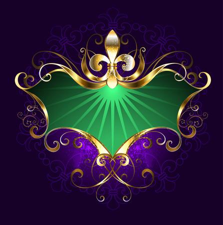 紫色の背景に金色のリリーと緑のバナー