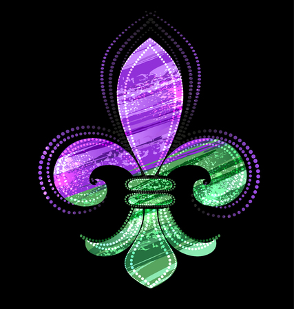 Fleur-de-lis, painted green and purple paint on a black background.