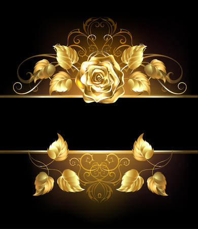 Rectangular banner with luxurious golden rose on black background.