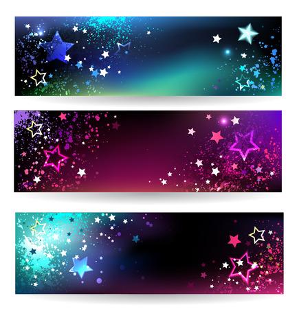 drie horizontale banner met fonkelende heldere sterren. Stock Illustratie