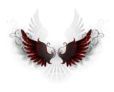 corvo imperiale: ali nere, decorate con un modello su uno sfondo bianco