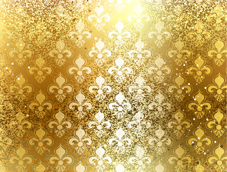 gold brocade background with ornament of Fleur de Lis