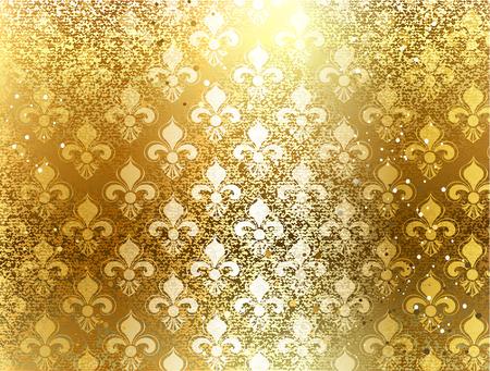 sfondo broccato d'oro con ornamento di Fleur de Lis Vettoriali