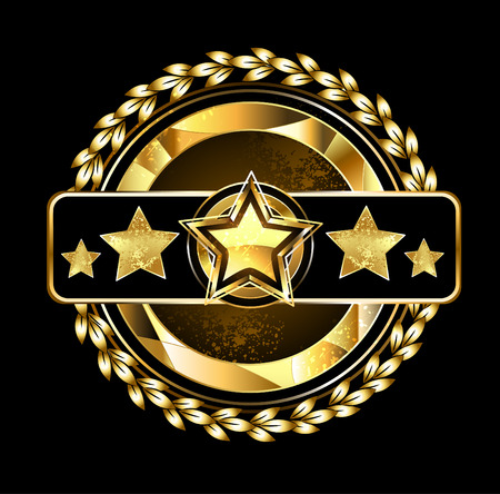 five star: gold round emblem with five golden stars, decorated with gold laurel wreath on a dark background. Illustration