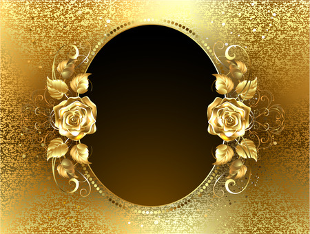 Oval banner with two gold roses on a background of gold brocade Vectores
