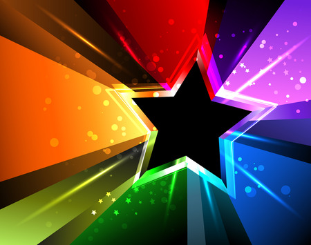 star: black star with rainbow rays and bright sparks