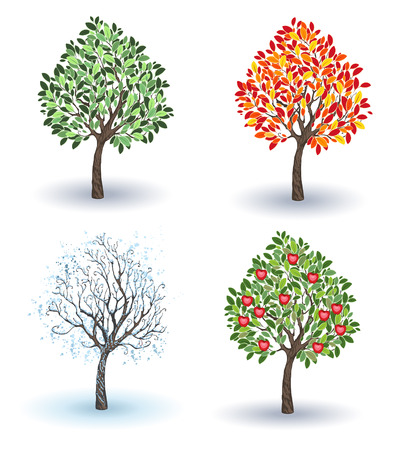 autumn garden: artistically painted small apple tree in winter, autumn, summer and spring season on a white background