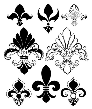 set of artistically painted, isolated, black Fleur de Lis on a white background Çizim