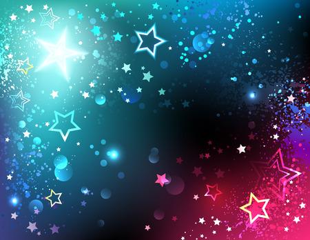 disparos en serie: fondo brillante del espacio con las estrellas. Vectores