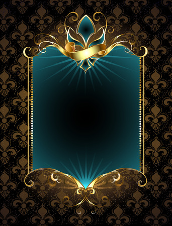 rectangular turquoise banner decorated with Fleur de Lis with gold pattern on a dark background Illustration