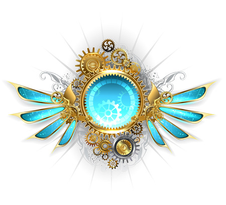 clockwork: round banner with gold and brass gears, decorated with blue glass mechanical wings on a white background