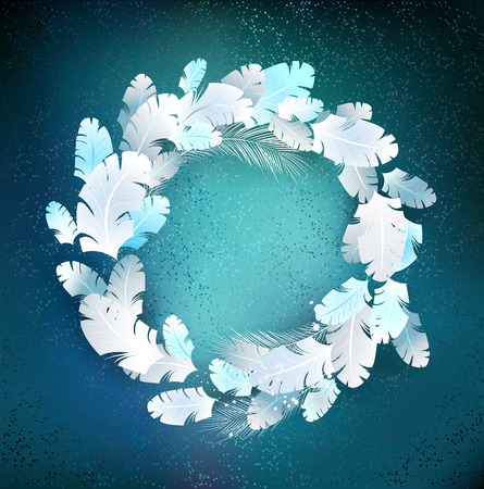 feather boa: circle of light , fluffy feather on blue background
