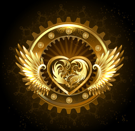mechanical heart with gears of gold and brass, decorated with metal wings on a black background.