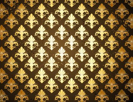 dark brown background with gold, shiny  Fleur de Lis Vector