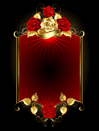 red banner with gold and red roses on a dark background.