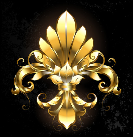 artistically painted gold Fleur de Lis on a dark background. Vectores