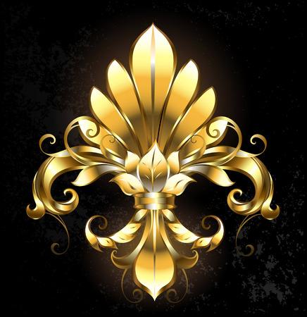 artistically painted gold Fleur de Lis on a dark background. Illustration